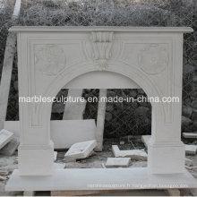 Cheminée en marbre simple avec sculpture sur bois (SY-MF217)