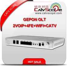 Высокопроизводительный 4VoIP + 4fe + WiFi + CATV Оптический сетевой терминал Gepon ONU