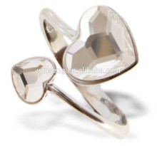925 sterling silver Jewelry two hearts Ring with Crystals from SWAROVSKI