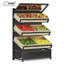 Confidencialmente siempre será la clave para todo lo que hacemos Supermercado piso Sd Tres capas de frutas vegetales Display Stand