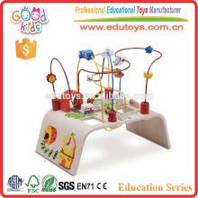 City Theme Wooden Wire Runde Baby Perle Spielzeug, ungiftig Wasser basierte Farben Kids Bead Toy