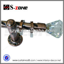 Spary-paint round stage curtain pole with crystal finial