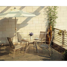 Outdoor sling furniture 5pc dining set with clear glass top
