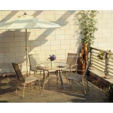 Jogo de jantar de estilingue ao ar livre mobiliário 5pc com limpar o tampo de vidro
