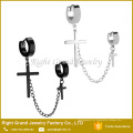 Chirurgischer Edelstahl-Doppel-Hoop und Querkette baumeln für Ohr-Piercings