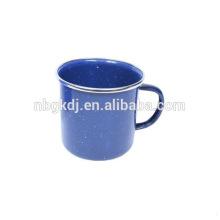 8cm(350ml)enamel drinking mug with PP lid and SS rim