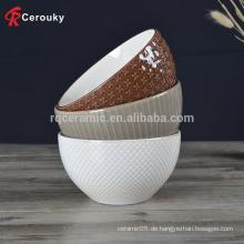 Verschiedene Design geprägt Keramik tiefe Schüssel, benutzerdefinierte Großhandel Keramik tiefe Schüssel