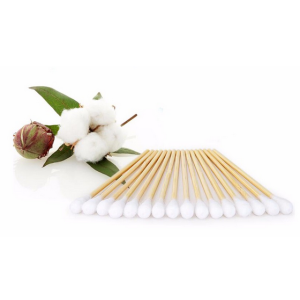 Medical sterile cotton buds with bamboo sticks