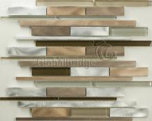Strip Metal Aluminum Mix Crystal Glass Mosaic Tile (M8acl&N932)