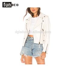 Frauen weiße Lederjacke Mode cool Langarm-Jacke