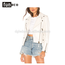 women white leather jacket fashion cool long sleeve jacket