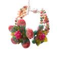 Bohemia hecha a mano colorida flor de piedra pulsera con cuentas