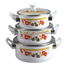 3pcs enamel casserole sets with bakelite handle
