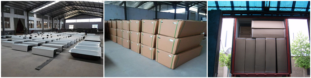 Packing and loading of steel bathtub with apron