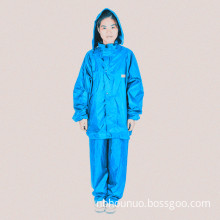 High Quality Nylon Coated PVC Split Raincoat, Rain Pants, Set Raincoat Poncho in Blue (HN-RC1301)