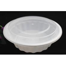 Envase de comida redondo disponible microonda plástico de 2500ml PP con la tapa / la cubierta