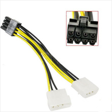 Adaptateur de câble d'alimentation VGA 8 broches PCI-E vers 2X 4 broches Molex