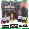 2015 getbetterlife Glitter tattoo set, temporary tattoo, Body Art condensation liquid kit 12 color stencil supply