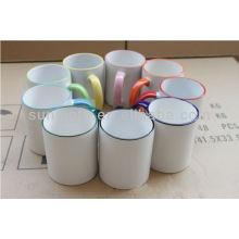 11oz borda e hanld cor / cor sublimação revestimento caneca grossista SMT fábrica