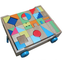 Wooden Buiding Blocks Cart Toy For Kids