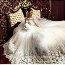 Robe de mariage Perles perlées à manches longues dentelle cathédrale train robe de bal Robes de mariée CWFw2381