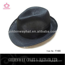 black polyester crochet trilby hat