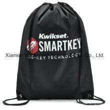 Preto personalizado impresso promocional leve saco drawstring mochila