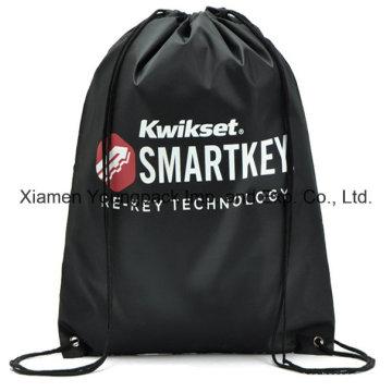 Negro personalizado impreso promocional ligero nailon mochila bolsa de mochila
