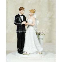 Rose Garden Couple Figurine topper de pastel de bodas para la decoración de la torta