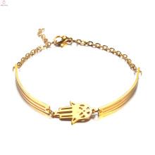 Joyería de moda de las mujeres Pulsera de brazalete de oro Hamsa de la mano simple del acero inoxidable