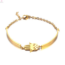 Women Fashion Jewelry Simple Stainless Steel Gold Hamsa Hand Bangle Bracelet