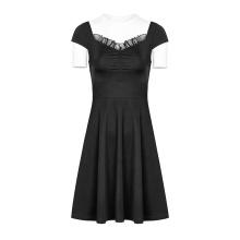 PUNK RAVE OPQ-360 Summer Casual Dresses Black Short Sleeve Folding Halter Dinner Dress Plus Size Lace Vintage Chiffon Plain Dyed