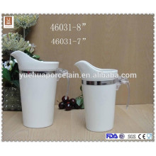 new design with plastic handle ceramic milk jar