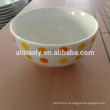 Cuenco de arroz de porcelana blanca para niños, cuenco de fideos