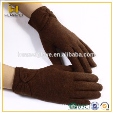 HuaWei wool gloves,brown lady wool gloves With Bow In winter Gloves