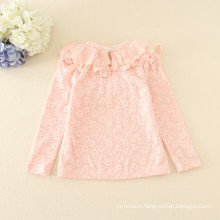 pink winter hot sale fleece children appliqued cheap price full sleeve tee for autumn girls good quality yellow t-shirts