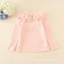 Inverno rosa venda quente de lã crianças appliqued preço barato de manga comprida tee para outono meninas de boa qualidade t-shirts amarelas