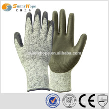 Sunnyhope 13 gauge HPPE avec des gants résistant aux coupures revêtus de PU