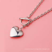 Fashion mirror stainless steel ot buckle peach heart love box necklace