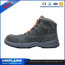 Cinza camurça couro aço PU único trabalho segurança sapatos Ufb030