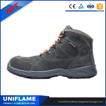 Zapatos de seguridad de trabajo de la suela de PU de cuero de gamuza gris Ufb030