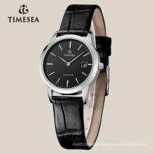 Women′s Quartz Watch with Black Leather Strap 71014