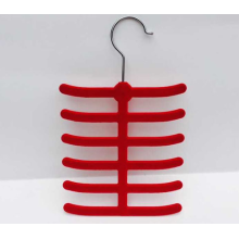 Colorful ABS plastic velvet flock tie hanger