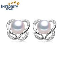 8-9mm AAA-Knopf-Frischwasserperlen-Ohrring-Mädchen-Liebes-weiße Farben-Perlen-Ohrring-Schmucksachen