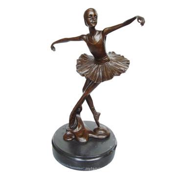 Dancer Brass Statue Ballerina Carving Decor Bronze Sculpture Tpy-294