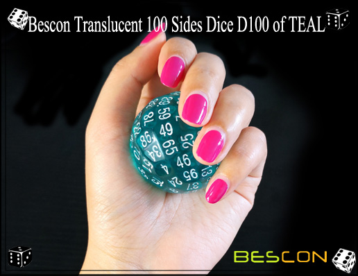 Bescon Translucent 100 Sides Dice D100 of TEAL-5