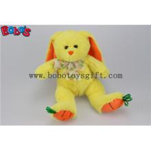 """9.5 """"Baby Geschenk Spielzeug Gelbe Plüsch Stuffed Bunny Tier mit Stickerei Karotte Füße Bos1156"""