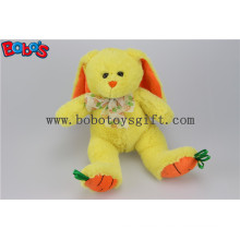 "9.5"" Baby Gift Toy Yellow Plush Stuffed Bunny Animal with Embroidery Carrot Feet Bos1156"
