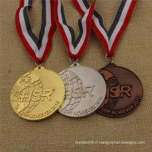 Médaille faite sur commande de prix d'usine exécutant la médaille de souvenir avec le ruban fait sur commande