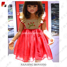 Wholesale rouge organza flutter manches robe
